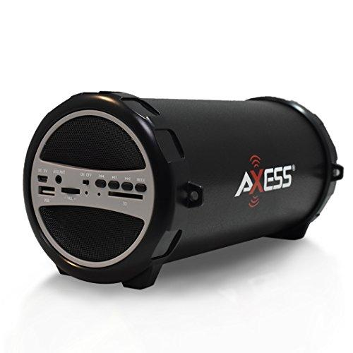"""Axess Spbt1031 Portable Bluetooth Indoor/Outdoor 2.1 Hi-Fi Cylinder Loud Speaker With Built-In 3"""" Sub And Sd Card, Usb, Aux Inputs In Gray"""