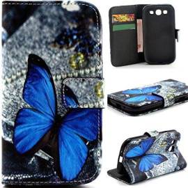 Gift_Source S3 Case, Galaxy S3 Iii I9300 Flip Case, [Stand Feature] Case Wallet [Wallet S] Premium Wallet Case Flip Cover For Samsung Galaxy S3 Iii I9300 - Blue Butterfly Pattern