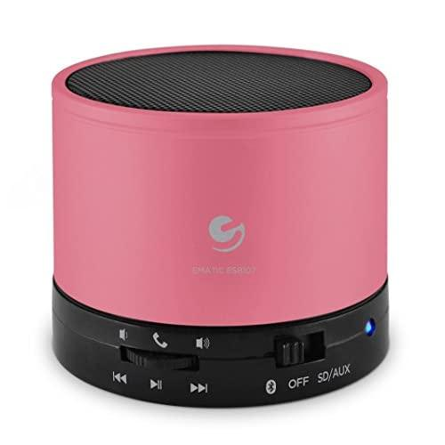 Ematic Bluetooth Wireless Speaker & Speakerphone For Iphone, Ipad, Ipod, Android Devices, & Laptops, Pink