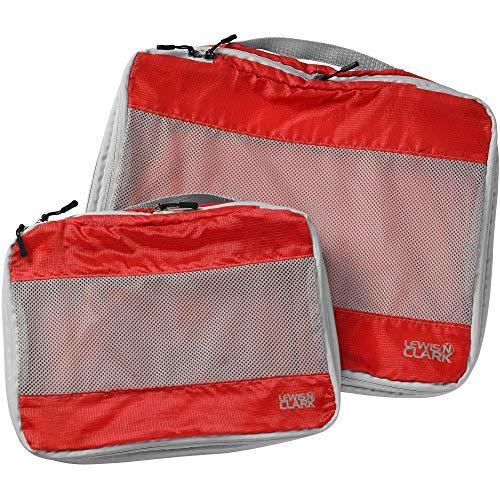 Lewis N. Clark Electrolight Expandable Compression-Packing Cube + Travel Organizer For Luggage, Suitcase Or Carry On With Smart Design Grab Handle &Amp; Breathable Mesh, 2-Pack (1 Med, 1 Large), Red