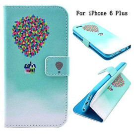 Iphone 6S Plus Case, Iphone 6 Plus Case, Newshine [Kickstand] Pu Leather Premium Flip Wallet Case Cover With Credit Card Id Holders For Apple Iphone 6S/6 Plus 5.5 Inch (Colorful Balloons)