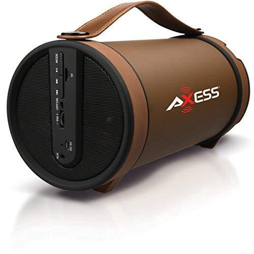 "Axess Spbt1033 Portable Bluetooth Indoor/Outdoor 2.1 Hi-Fi Cylinder Loud Speaker With Built-In 4"" Sub And Fm Radio, Sd Card, Usb, Aux Inputs In Brown"