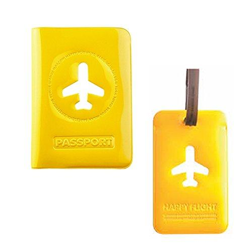 Alife Passport Cover Card Case Luggage Travel Bag Nametag Combo (Yellow)