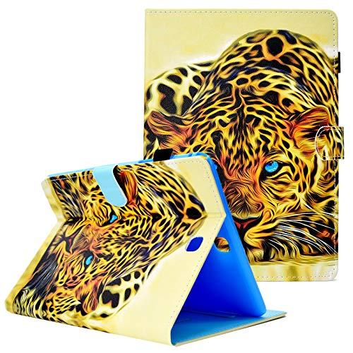 Uucovers Samsung Galaxy Tab A 9.7 T550 Case, Ultra Slim Pu Leather Auto Wake/Sleep Anti-Slip Wallet Case With Cards/Cash Holder Pen Loop For Tab A 9.7 Inch T550 Tablet -Panthera Pardus