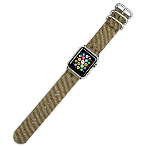Debeer Watch Band - Military Raf Style Ballistic Nylon 2-Piece - Khaki - Fits 42Mm Apple Watch [Silver Adapters]