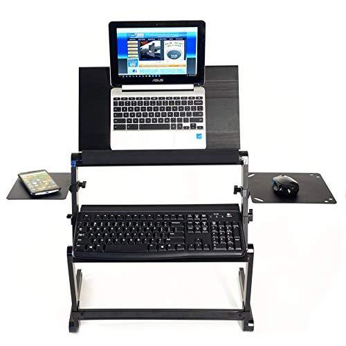 Lapworks Wizard Standing Desk For Your Desktop Or Table With Keyboard Tray, Stabilizer Bar, Max Mouse Pad, Regular Mouse Pad And More - Super Strong But Lightweight Aluminum Design