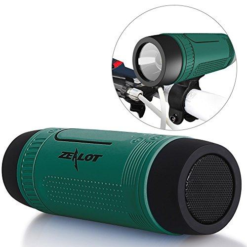 Bluetooth Bicycle Speaker Zealot S1 4000Mah Portable Bike Speakers Rechargeable Power Bank Slpashproof Bicycle Headlight Led Flashlight Outdoor Indoor Competible For Iphone, Android (Green)