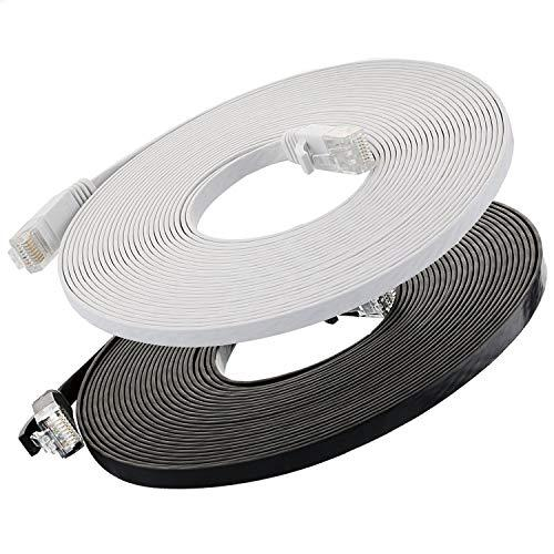 Cat6 Ethernet Cable Flat 25Ft (Black And White) (At A Cat5E Price But Higher Bandwidth) Internet Network Cable - Cat 6 Ethernet Patch Cable Short - Computer Cable With Snagless Rj45 Connectors