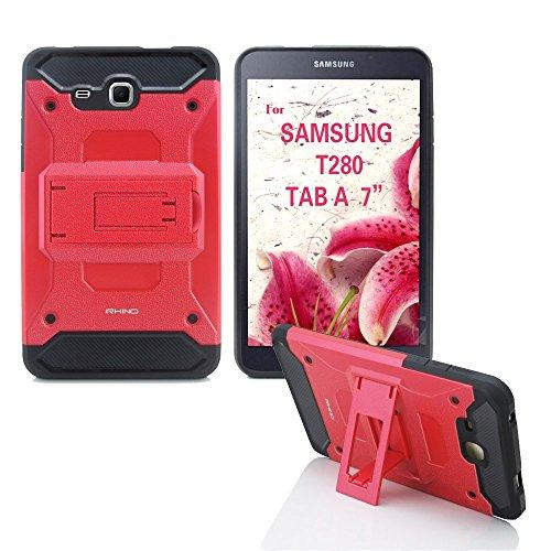Samsung Galaxy Tab A 7.0 2016 Case T280 [Irhino] Tm Red Heavy Duty [Dual Layer] [Hybrid Case] Cover With Build In Kickstand Protective Case For Samsung Galaxy Tab A 7.0 Inch 2016 T280 Tablet