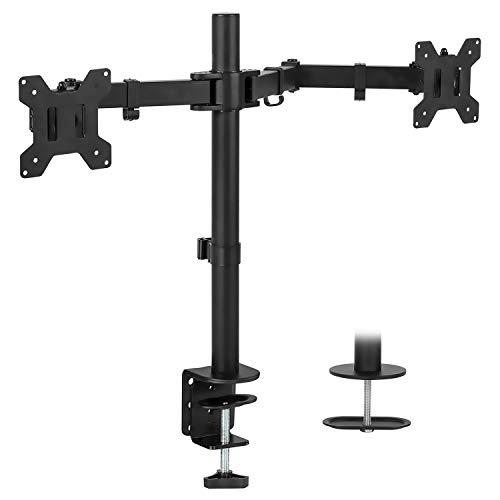 Mount-It! Dual Monitor Mount | Double Monitor Desk Stand | Two Heavy Duty Full Motion Adjustable Arms Fit 2 Computer Screens 17 19 20 21 22 24 27 Inch | Vesa 75 100 | C-Clamp And Grommet Base