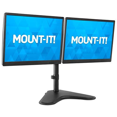 Mount-It! Dual Monitor Stand | Double Monitor Desk Stand Fits Two X 21 22 23 24 27 28 30 32 Inch Computer Screens | Freestanding Base | 2 Heavy Duty Full Motion Adjustable Arms | Vesa Compatible