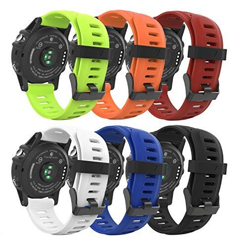 Moko Band Compatible With Garmin Fenix 3, [6Pcs] Soft Silicone Replacement Watch Band For Garmin Fenix 3/Fenix 3 Hr/Fenix 5X/5X Plus/D2 Delta Px/Descent Mk1 Smart Watch - Multi Colors