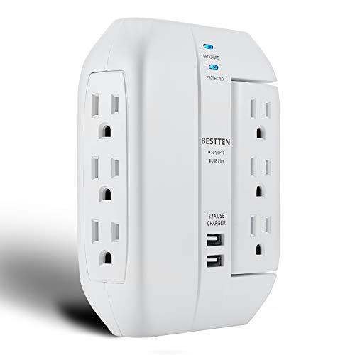 Bestten 1350-Joule Usb Wall Outlet Surge Protector, 6 Grounded Outlets (3 Swivel And 3 Side-Entry), 15A/125V/1875W, 2.4A Dual Usb Charging Ports, Etl Listed, White