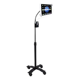 """Floor Stand, Cta Digital Compact Security Height-Adjustable Rotating Tablet Stand With Gooseneck, Locking Wheels For 7-14"""" Tablets/Ipad 10.2-Inch (7Th Gen.), Ipad Pro 12.9 (Gen. 3), Ipad Air 3 &Amp; More"""