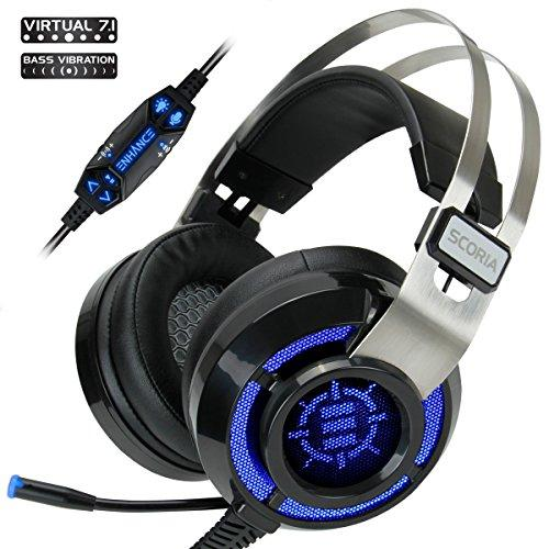 Enhance Scoria Gaming Headset For Computer &Amp; Ps4 With Usb 7.1 Surround Sound , Interactive Bass Vibration , Adjustable Led Lighting , In-Line Controls &Amp; Retractable Microphone - Teamspeak Certified