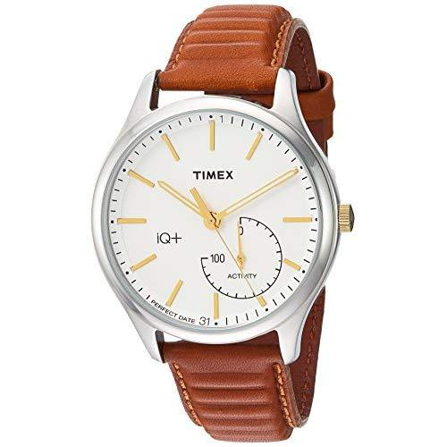 Timex Men'S Tw2P94700 Iq+ Move Activity Tracker Caramel Brown Leather Strap Smartwatch