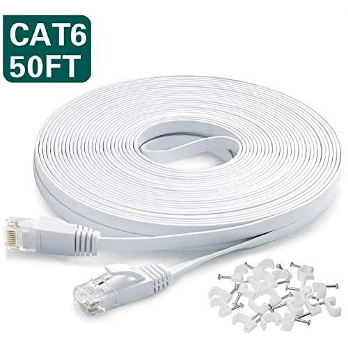 Ethernet Cable 50 Ft,Cat6 Internet Cable Flat Network Lan Patch Cord White With Clips Snagless Rj45 Connectors,High Speed Computer Wire Faster Than Cat5E Cat5 For Ps4,Xbox,Router,Modem,Network Switch