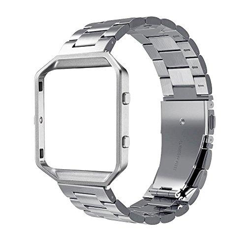Simpeak Women Men Stainless Steel Metal Band Strap With Stailess Steel Frame Compatible With Fitbit Blaze, Match Link Removal Tool, Silver