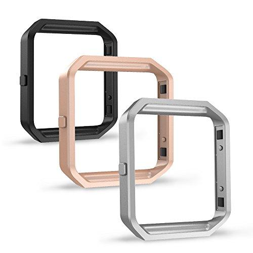 Simpeak Frame Compatible With Fitbit Blaze, Pack Of 3,Stainless Steel Metal Frame Replacement For Fitbit Blaze, Black, Silver, Rose Gold