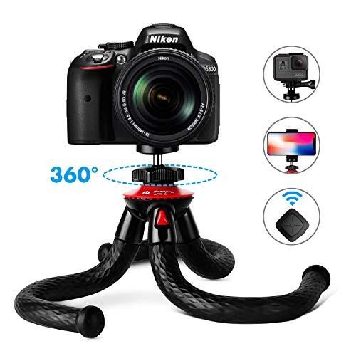 """Tripods For Phone, Fotopro 12"""" Flexible Tripod With Bluetooth For Iphone X 8 Plus,Samsung S9,Waterproof And Anti-Crack Camera Tripod For Gopro,360 Degree Spherical Camera For Time-Lapse Photography"""
