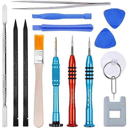 Vastar 16Pcs Cell Phone Repair Tool Kit For Iphone Precision Screwdriver Set With Magnetizer/ Demagnetizer Tool &Amp; Opening Pry Tools For Iphone X/8/8 Plus, 7/7Plus,6P/6S/6/5S/5/5C/4S/4/Se,Ipod,Itouch