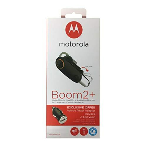 """Motorola Boom 2+""""Hd Flip Bluetooth - Water Resistant Durable Wireless Headset W/Car Charger, (Us Retail Packing"""