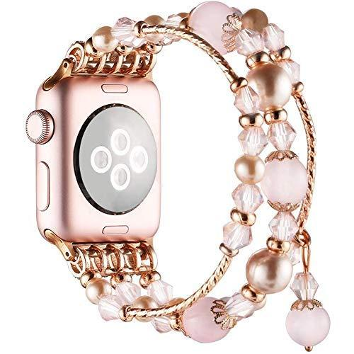 Simpeak Band Compatible With Apple Watch 42Mm 44Mm, Fixed Size 5.7-6.9 Inch,Handmade Fashion Beaded Elastic Bracelet Band Replacement For Apple Watch Series 5/4/3/2/1, Rose Pink