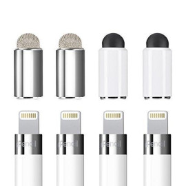 Zspeed [2 In 1] Magnetic Replacement Cap For Apple Pencil - Rubber Tips Fiber Tips As Stylus Compatible With All Touch Screen Tablets/Cell Phones