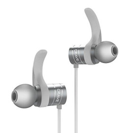 Crave Octane Wireless Bluetooth Earphones, In-Ear Sweat And Water Resistant Stereo Headphones Earbuds With 8 Hour Battery, Magnetic Ends, Built-In Mic - Silver