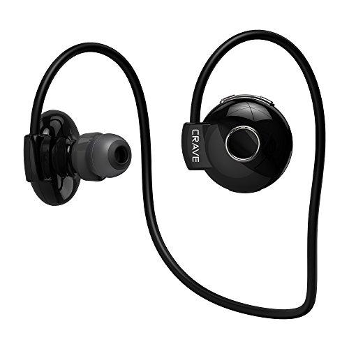 Crave Octane Sport Wireless Bluetooth Earphones, In-Ear Sweat And Water Resistant Stereo Lightweight Headphones Earbuds Premium Sports Headset With Built-In Mic - Black