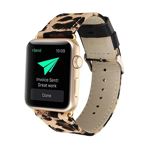 Wonderkathy Modern Wild Leopard Printed Soft Denim Fabric Wrist Strap Compatible Apple Watch Band 38Mm Adjustable Metal Clasp Compatible Iwatch Series 3 Series 2,Series 1, Sport &Amp;Edition