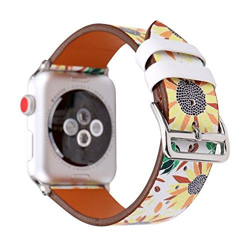 Wonmille Bands For Apple Watch 38Mm, Sequins Floral Printed Leather Replacement Strap Wrist Watch Band For Apple Watch Iwatch Series 1 Series 2 Series 3 (Sunflower 38Mm)