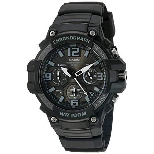 Casio Men'S Heavy Duty Chronograph Stainless Steel Quartz Watch With Resin Strap, Black, 25 (Model: Mcw-100H-1A3Vcf)