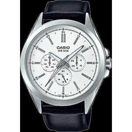 Casio Men'S Classic Stainless Steel Quartz Watch With Leather Strap, Black, 22 (Model: Mtp-Sw300L-7Avcf)