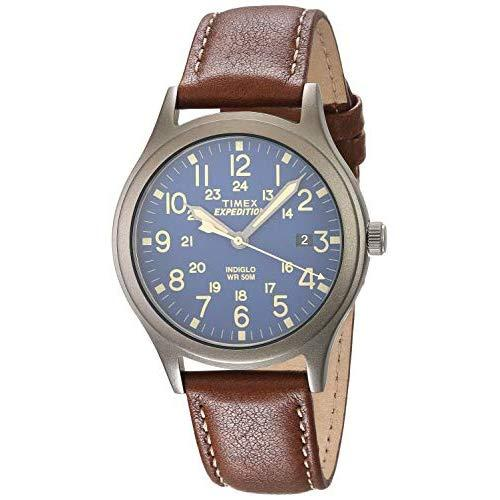 Timex Unisex Tw4B11100 Expedition Scout 36 Brown/Titanium/Blue Leather Strap Watch