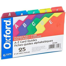 """Oxford Poly Index Card Guides, Alphabetical, A-Z, Assorted Colors, 4"""" X 6"""" Size, 25 Guides Per Set (73154)"""