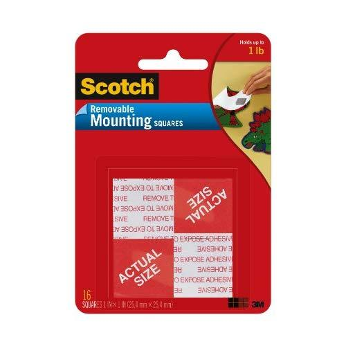 Scotch Brand 108 Removable Mountng 1X1In. 16Pc, 1, Grey, 16 Count