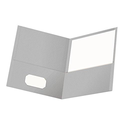 Oxford Twin-Pocket Folders, Textured Paper, Letter Size, Gray, Holds 100 Sheets, Box Of 25 (57505Ee)