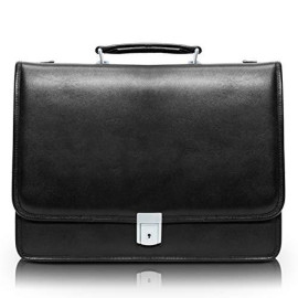 "Mcklein, I Series, Bucktown, Full Grain Cashmere Napa Leather, 15"" Leather Double Compartment Laptop Briefcase, Black (43545)"