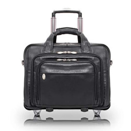"""Mcklein, I Series, Gold Coast, Full Grain Cashmere Napa Leather, 17"""" Leather Patented Detachable -Wheeled Laptop Briefcase, Black (43185)"""