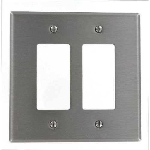 Leviton So262 2-Gang Decora/Gfci Device Decora Wallplate, Oversized, 302 Stainless Steel, Device Mount, Stainless Steel