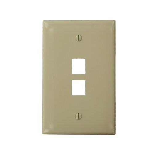 Leviton 41091-2In Quickport Midsize Wallplate, Single Gang, 2-Port, pale