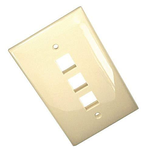 Leviton 41091-3In Quickport Midsize Wallplate, Single Gang, 3-Port, pale