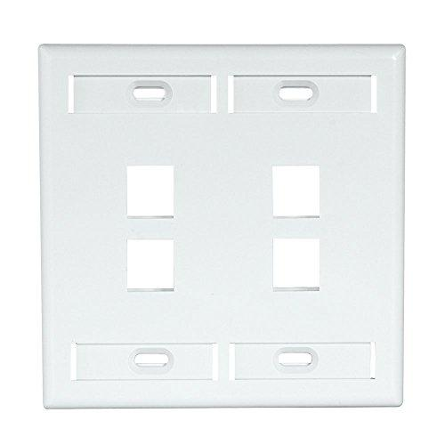 Leviton 42080-4Wp 4-Port Dual Gang Quickport Wallplate With Id Windows, White