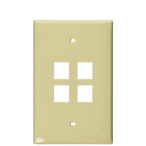Leviton 41091-4In Quickport Midsize Wallplate, Single Gang, 4-Port, pale