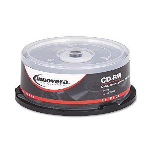 Innovera 78810 Cd-Rw 700Mb/80Min 12X Discs With Spindle, Silver, 25 Per Pack