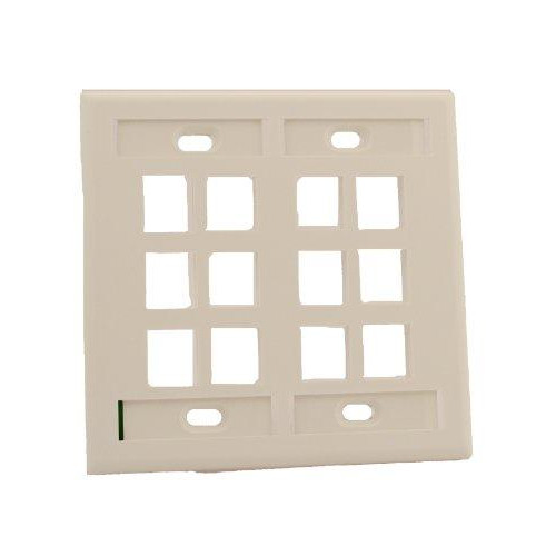 Leviton 42080-12W Quickport Wallplate With Id Window, Dual Gang, 12-Port, White