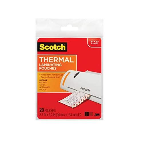Scotch Thermal Laminating Pouches, 3.7 X 5.2-Inches, 20-Pouches (Tp5902-20)