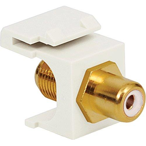 Icc Rca To F-Type Modular Jack With White Insert And Gold Plated Connector In Hd Style, White
