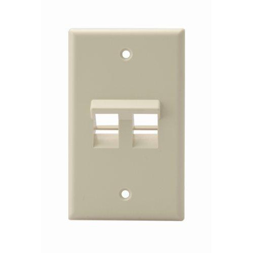 Leviton 41081-2Ip Angled Quickport Wallplate 2-Port, Single Gang, pale